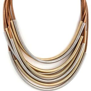 Silver & Gold Coiled Metal on Brown Suede Necklace